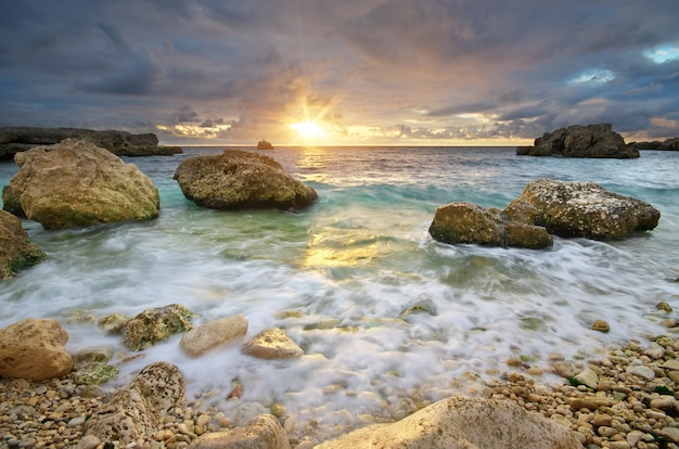 Beautiful seascape. sunset on the sea.