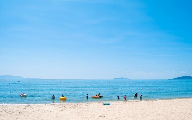 신지 명사십리 해변, 완도, 한국의 아름다운 경치를 볼 수 있습니다.