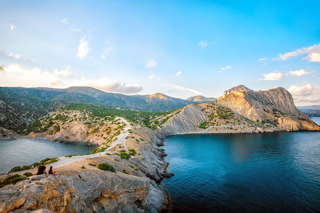 Beautiful seascapes from the golitsyn trail mountain views in summer