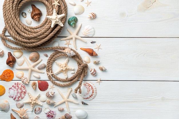 Красивые ракушки, морские звезды и веревка на светлом деревянном фоне.