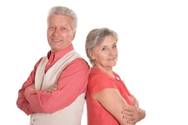 Beautiful senior couple isolated on white background