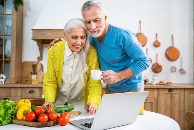 Beautiful senior couple of lovers.   elderly people portrait while having fun at home