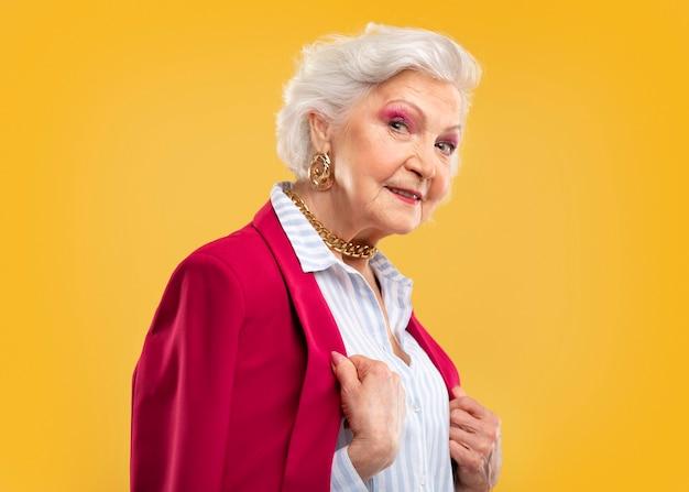 Beautiful senior woman being stylish