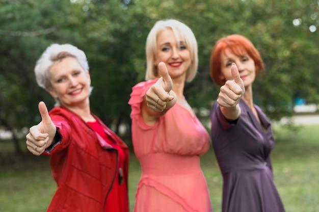 Beautiful senior women posing
