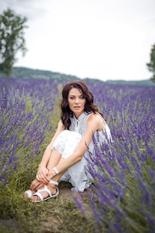 Beautiful sensual young woman on the lavender field Premium Photo