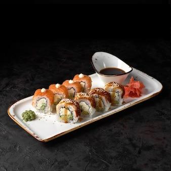 Beautiful set, sushi roll philadelphia and canada on a plate