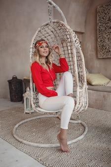 Beautiful sexy woman blonde hair east style arabic