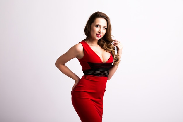 Beautiful sexy woman in red dress.