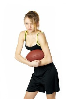 Beautiful sexy young woman  american football player