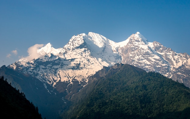 Beautiful shining mount ganesh range at gorkha, nepal.