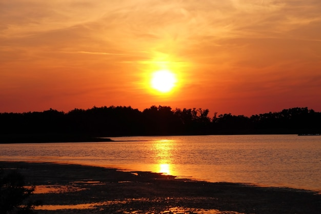 Beautiful shiny sunset on bay