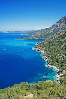 トルコの地中海の青い海と美しい海岸線
