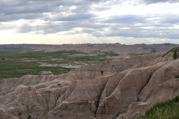 Beautiful shot of badlands with grassy fields