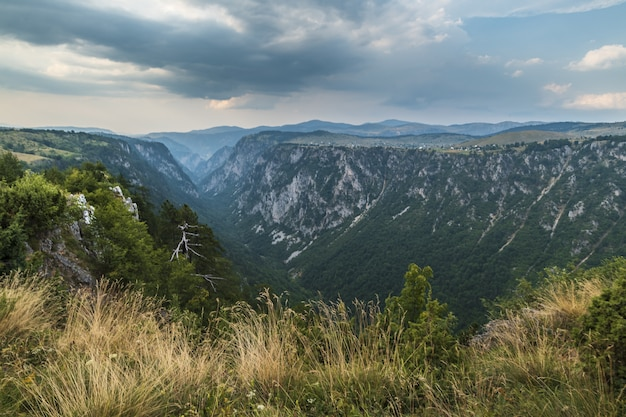Beautiful shot of a canyon in the mountains and the cloudy sky