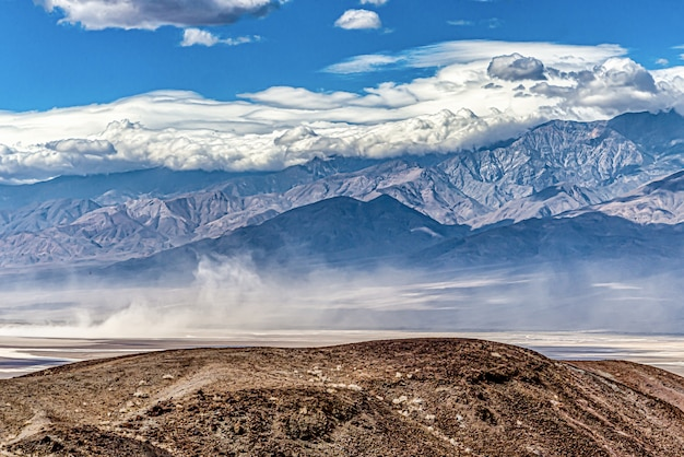 Beautiful shot of death valley in california, usa under the cloudy blue sky