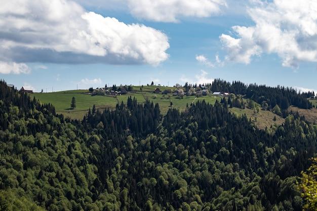 Bello scatto di una montagna boscosa sotto un cielo blu