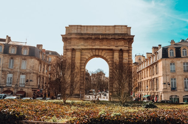 Beautiful shot of the gate of burgundy in bordeaux, france