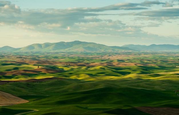 Bellissimo scatto di colline erbose e montagne in lontananza