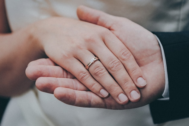 Beautiful shot of the hands of a newly married couple