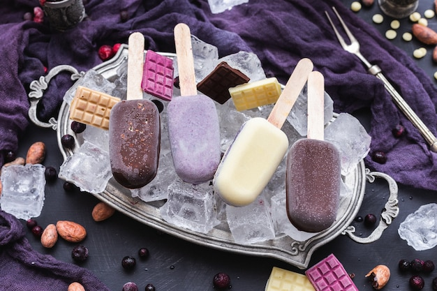 Beautiful shot of home-made vegan icecreams and chocolate bars on ice cubes in a metal plate