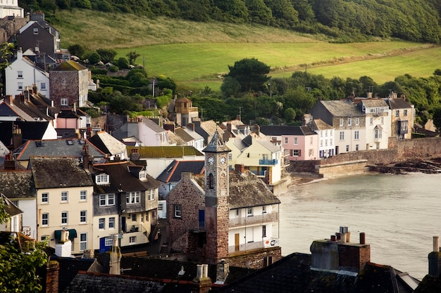 Beautiful shot of the kingsand cawsand buildings near the sea in cornwall, uk
