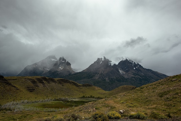 Beautiful shot of a landscape of torres del paine national park in chile