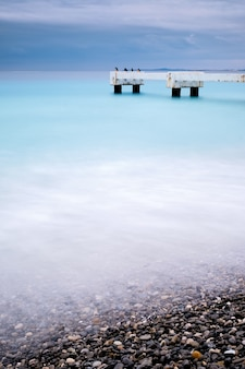 Beautiful shot of lido pier  nice  cote d'azur france