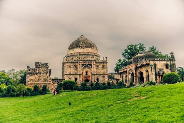Beautiful shot of lodhi garden in delhi india under a cloudy sky