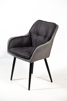 Beautiful shot of a modern black and grey chair isolated on a white
