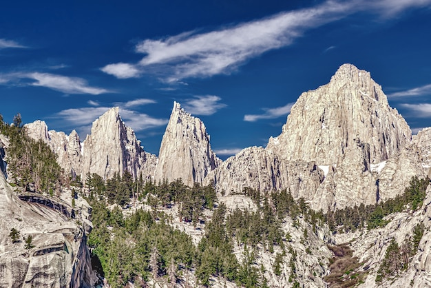 Beautiful shot of mount whitney in california, usa with a cloudy blue sky