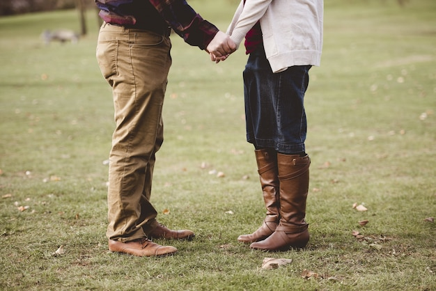 Красивая съемка пары держа руки пока стоящ на травянистом поле с запачканной предпосылкой