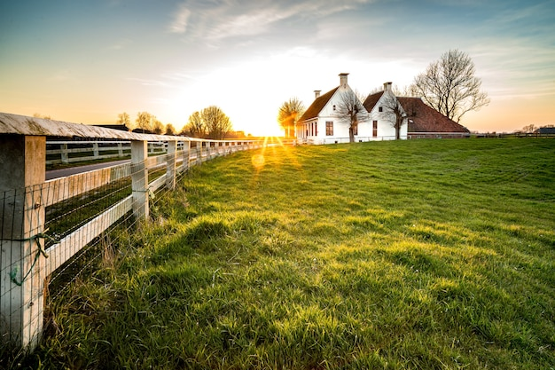 緑の芝生エリアの家につながるフェンスの美しいショット