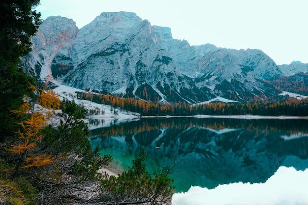 Красивый снимок озера в окружении деревьев возле снежной горы