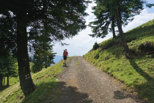森の中の小道を歩いている赤い旅行のバックパックを持つ男性のハイカーの美しいショット