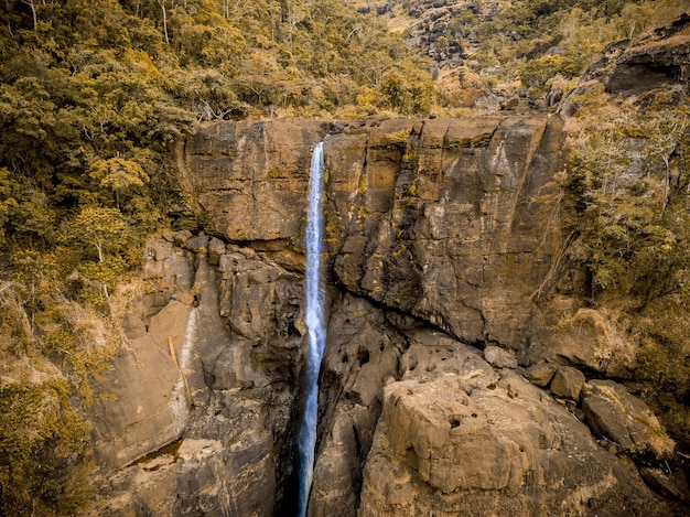 Красивый снимок водопада в окружении деревьев в папуа-новой гвинее.