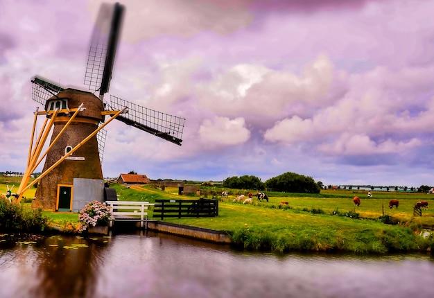 オランダの曇り空の下で湖の近くの風車の美しいショット