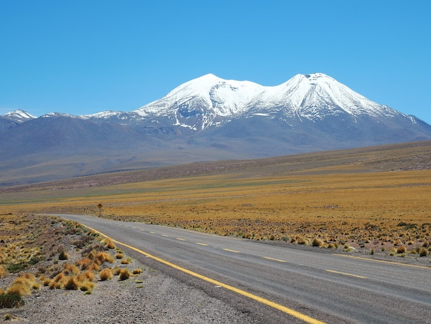 Красивый снимок пустой дороги, окруженной полями и горами, покрытыми снегом при дневном свете