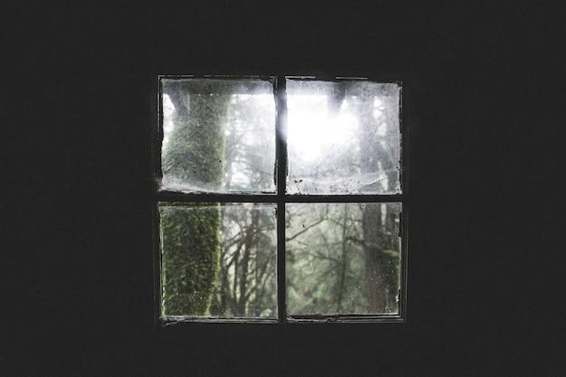 오래 된 더러운 오두막 창 아름 다운 샷