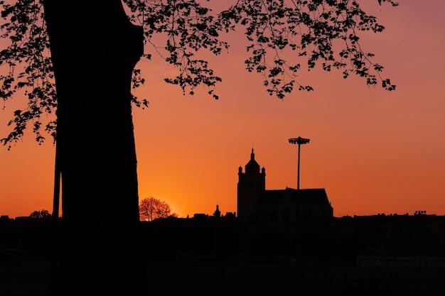 日没時の建物と木のシルエットの美しいショット