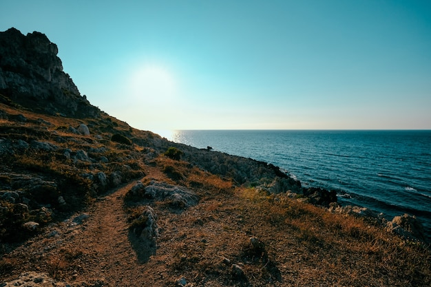 Красивая съемка холма сухой травы и скалы около моря с ясным голубым небом