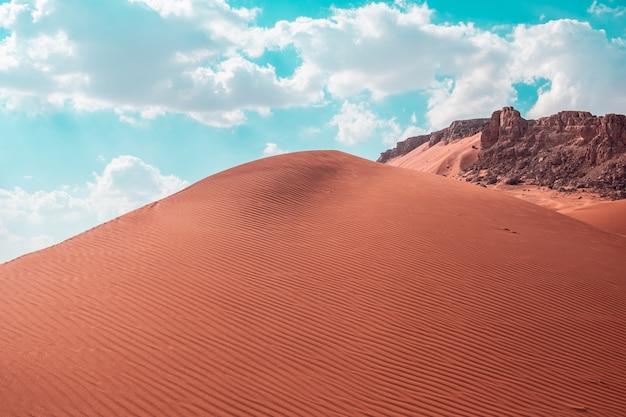 사막의 밝은 하늘 아래 모래 언덕의 아름다운 샷