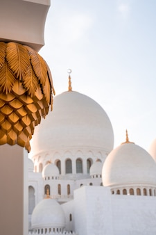 낮에 아부다비에 있는 셰이크 자이드 그랜드 모스크의 아름다운 사진