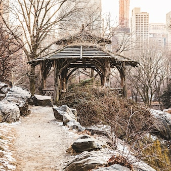 Beautiful shot of an old gazebo at central park in new york city