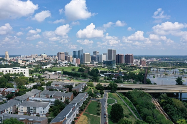 Beautiful shot of richmond, virginia skyline with a cloudy blue sky