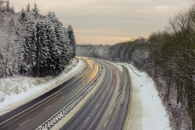 Bellissimo scatto di una strada con alberi nella foresta ricoperta di neve durante l'inverno