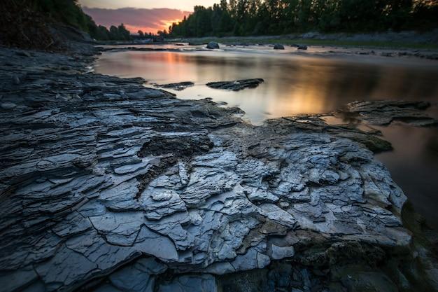 Beautiful shot of rocks near the lake