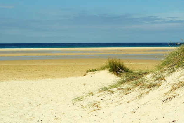Bella ripresa di una spiaggia di sabbia a tarifa, spagna