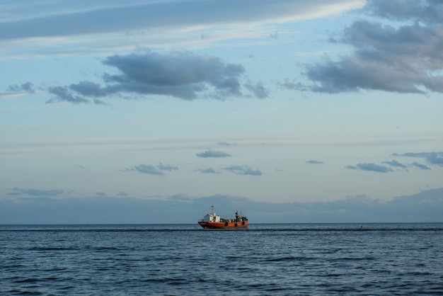 Beautiful shot of a ship sailing in the sea in south of chile, punta arenas