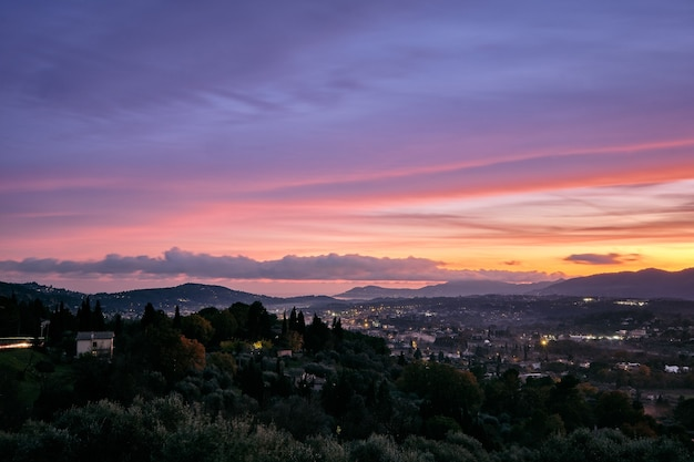 Beautiful shot of the sunset over the cote d'azur (french rivera), france