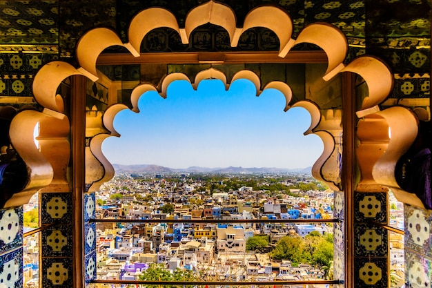 Beautiful shot of udaipur from the window of city palace
